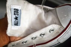 Instead of throwing out that expensive pair of shoes, why not spend a little time and clean them up with just a few household ingredients? How To Make Shoes, Your Shoes, Converse Chuck Taylor, All Star, High Top Sneakers, Brand New, Make It Yourself, Stars, Diy