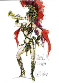 """Gotta Have a Gimick"" Miss Mazeppa costume from Gypsy by Bob Mackie Character Costumes, Movie Costumes, Cool Costumes, Amazing Costumes, Dress Sketches, Fashion Sketches, Costume Design Sketch, Hollywood Costume, Bob Mackie"