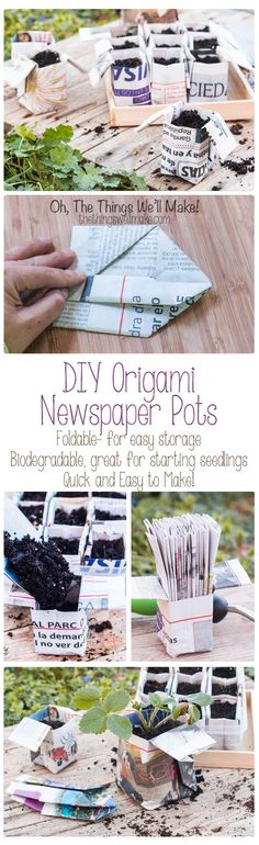 Fold your own quick and easy origami newspaper pots for your seedlings!  These can be folded in advanced and stored in the folded position to save space. Because they are biodegradable, you can plant the seedlings with their pot and don't have to disturb their fragile roots! #gardenplanningideastips