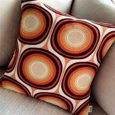 Retro Pillow Cover Terra Cotta Mondo shown by atomiclivinhome