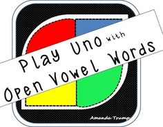 This game gives student exposure to open syllable vowels.  An open syllable only has one long vowel sound and it is spelled with one vowel letter.  So many times in open syllable words the vowel itself is the only syllable. This vowel can be at the beginning, middle, or end of a word. The game is played just like UNO. So have fun!