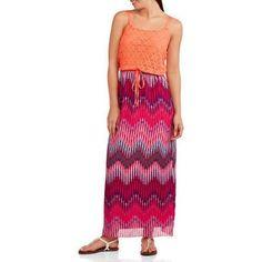 Faded Glory Women S Lace Blouson Tie Waist Maxi Dress
