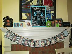 first birthday mantel, 1-11 month photo banner, chalkboard frame with one information www.myblossomingbud.blogspot.com