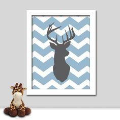 Chevron Nursery Deer Print - Modern Nursery Animal Print - 8x10 Nursery Art. $11.95, via Etsy.