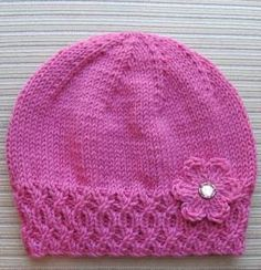 Knitted Hat with Flower, Free knitting pattern. Hat is knit and flower is crochet. Baby Hat Knitting Pattern, Baby Hat Patterns, Baby Hats Knitting, Knitting For Kids, Knitting Patterns Free, Knit Patterns, Free Knitting, Knitting Projects, Free Pattern