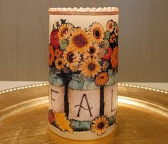 Fall LED Pillar Candle With Sunflowers, Mums And Fall Leaves In Mason Jars by DontForgetTheFlowers on Etsy Flickering Lights, Flameless Candles, Pillar Candles, Light Peach Color, Peach Colors, Wrapping Paper Bows, Fall Leaves, Autumn Theme, Beautiful Paintings