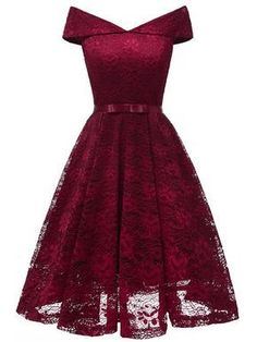 LaceShe Damen Vintage Off Shoulder Spitzenkleid – Cocktail dress Vestidos Vintage, Vintage Dresses, Dance Dresses, Short Dresses, Dresses Dresses, Dresses Online, Casual Dresses, Woman Dresses, Linen Dresses
