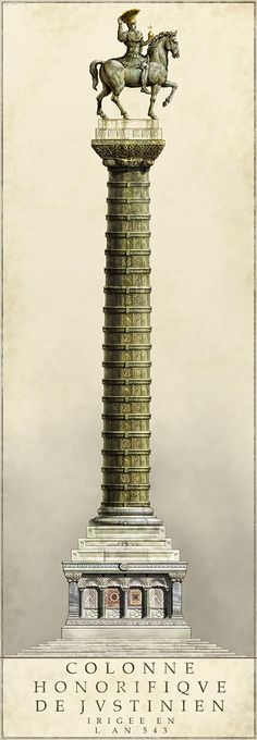 Column of Justinian the Great, reconstruction, Constantinople.