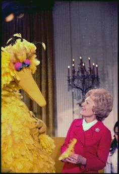 Mrs. Nixon meeting with Big Bird from Sesame Street in the White House.