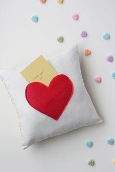 secret pocket pillow for Valentine's Day!