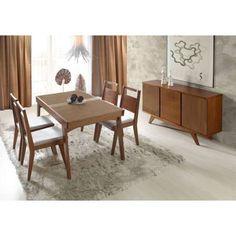 Conjunto de Jantar Leme Mesa Elástica, 4 Cadeiras e Balcão - Madeira