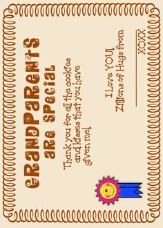 "Grandparents Day Certificates ""Thank you for all the hugs, & prayers! Preschool Classroom, Kindergarten Activities, Beginning Of The School Year, Sunday School, Grandparents Day Preschool, Pta Programs, Holiday Crafts For Kids, Grandparent Gifts, School Holidays"
