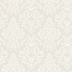 56 sq. ft. Delicate Document Damask Wallpaper, Deep Oyster/White