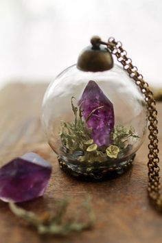 Real Amethyst crystal terrarium necklace - raw crystal and Irish locket - Ruby Robin Boutique