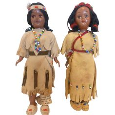 Vintage Native American Indian Dolls in Beaded Deerskin Clothes -- found at www.rubylane.com #thedollworldshome