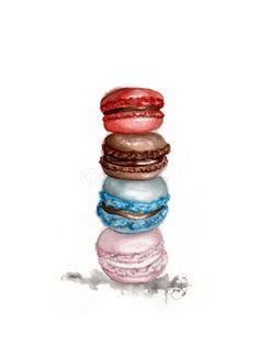 $19 Macarons Watercolor Illustration Print #macarons #fashionillustration #watercolor