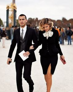 Classy couple during Paris fashion week. Couple Chic, Classy Couple, Stylish Couple, Couple Style, Elegant Couple, Perfect Couple, White Couple, Beautiful Couple, Perfect Match