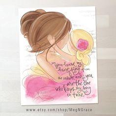 Moeder dochter kwekerij Gift Wall Art Print blond Brunette