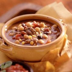 Aunt Bonnie's Taco Soup: Easy soup, full of beef and beans.