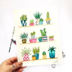 Items similar to Cacti on shelf – Original painting – Original watercolor – Potted plants art – Botanical watercolor – Cactus potted art – Watercolor cactus on Etsy - Gouache Painting Watercolor Paintings For Beginners, Watercolor Projects, Watercolour Tutorials, Watercolor Sketchbook, Watercolor Cactus, Watercolor Artwork, Watercolor Tattoo, Plant Painting, Plant Art