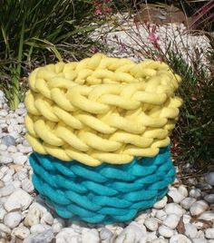 Hand twined Megalo wool container. Turquoise and yellow. $240.00