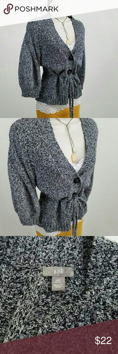 J. Jill puff sleeve cardigan Heathered gray three-quarter puff sleeve cardigan with tie-cinched waist.    Bust 17.5 / length 23 inches.  60% cotton, 27% acrylic, 7% polyester, 6% nylon.  Thanks for visiting my closet; come back soon & see what's new!  I add listings every week! J. Jill Sweaters