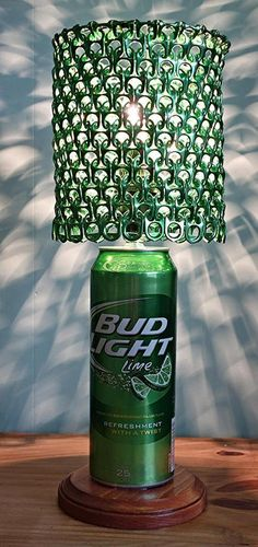 Giant 24 oz Bud Light Lime Beer Can Lamp With Metallic Green Anodized Pull Tab Lamp Shade by LicenseToCraft, $45.00