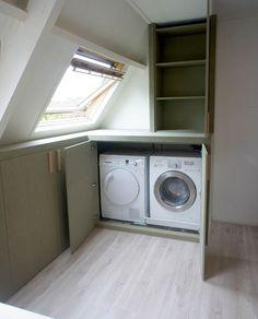 living room ideas – New Ideas Attic Bathroom, Laundry In Bathroom, Landry Room, Attic Closet, Loft Room, Attic Apartment, House Inside, Small Room Bedroom, Hallway Decorating