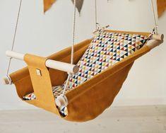 Baby linen indoor swing GEOMETRY hanging cradle hammock for image 0 Outdoor Hammock Chair, Wooden Hammock, Hammock Swing, Baby Hammock, Indoor Swing, Indoor Hammock, Home Swing, Porch Swing, Boho Nursery