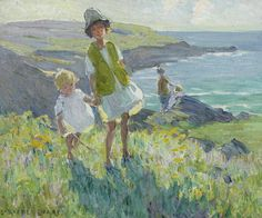 Dorothea Sharp (British artist) 1874 - 1955 On a Cornish Clifftop, s.d. oil on canvas 38 x 46 cm. (14 15/16 x 18 1/8 in.) signed 'DOROTHEA SHARP' (lower left) private collection