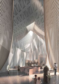 David Adjaye has revealed visuals of The Abrahamic Family House, an interfaith complex in Abu Dhabi that will host a church, mosque and synagogue. Futuristic Architecture, Interior Architecture, Architecture Portfolio, Guggenheim Abu Dhabi, Architecture Organique, African American Museum, Templer, Church Interior, Mosque