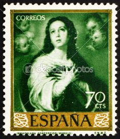 Postage stamp Spain 1960 Immaculate Conception, Painting by Muri
