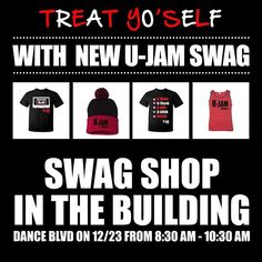 Wanna do some last minute Christmas shopping, but don't wanna pay those shipping fees? Come thrU today at Dance Boulevard from 8:30am - 10:30am and stop by the Swag Shop table! #ujamfitness #ujam #swag #sale #christmassale #holidaygifts #holidaygiftideas #repyofitness