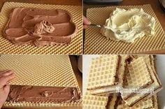 Desserts With Biscuits, No Bake Desserts, Dessert Recipes, Polish Desserts, Polish Recipes, Wafer Cookies, Cupcake Cookies, Pineapple Coconut Bread, Cream Cheese Flan