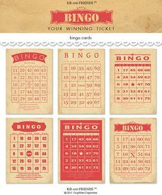 Red vintage bingo cards 5 by 7 downloadable, printable, digital, by KBandFriends, $3.00