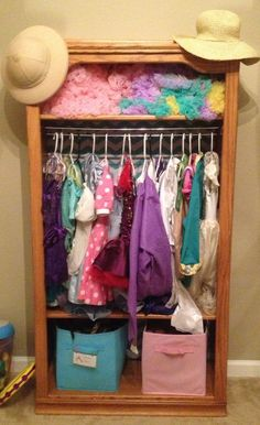 Bookcase turned into dress up organizer with stuff I had around the house