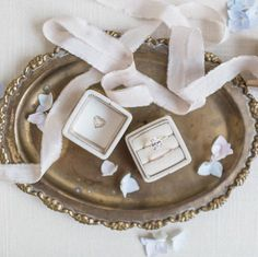 Gorgeous velvet ring box beauty! These french vintage inspired ring boxes will accomodate both an engagement ring and wedding band. Perfect for a day-of wedding gift for the bride or a bridal shower gift for the bride-to-be. Also great for styled shoots and other ring photo opportunties.  ► I T E M ∙ D E T A I L S : …………………………………. • Listing is for one (1) ring box • Ring box size - 1.5 x 1.5 inches (We do not personalize at this time.)  ► H O W ∙ T O ∙ O R D E R …………………………………. • 1. Make your…