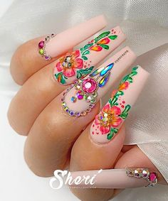 rhinestone nails - 21 Elegant Design Coffin Acrylic Nails You Should Try Right Now - Acrylic Coffin. Best Acrylic Nails, Summer Acrylic Nails, Summer Nails, Flower Nail Designs, Acrylic Nail Designs, Nails With Flower Design, 3d Flower Nails, Nail Swag, Rhinestone Nails