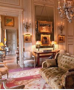 plain mirror with art over.Christies Auction - Collection Zeineb et Jean-Pierre Marcie-Rivière - Paris - June 2016 - Photography: Cleber Bonato, Guillaume Onimus, Pauline Guyon, Anna Buklovska - Drawing room - Classic Interior Traditional Interior, Classic Interior, French Architecture, Interior Architecture, Classic Living Room, Interior Decorating, Interior Design, French Country House, Elegant Homes