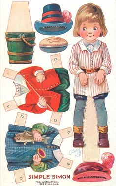 SIMPLE SIMON  (Nursery Rhyme Dressing Dolls, Series III / Raphael Tuck & Sons) Artist A.L. Bowley (unsigned, attributed to P. Cope) Oilette, Printed in England, © London, Paper Cut-outs
