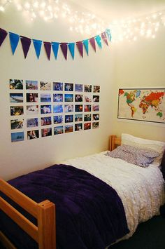 I like the clean cut photos, simple bunting and clear fairly lights on a plain wall.