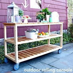 SnapWidget | Free plans to build this outdoor rolling console @ryobipowertools #ryobination plus a tool giveaway. Link to enter giveaway in #ontheblog #linkinprofile #diy #giveaway #outdoorprojects #rollingconsole