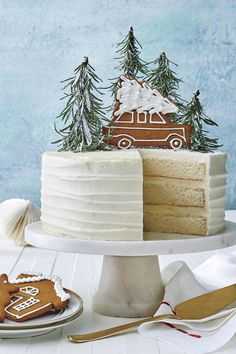 Homemade White Cake : For this year's Big White Cake, we decided to trade in .Homemade White Cake : For this year's Big White Cake, we decided to trade in the bells, whistles, and bling for a layer cake that's as simple as a walk in the woods. Best Christmas Recipes, Christmas Sweets, Noel Christmas, Christmas Goodies, Holiday Recipes, Christmas Parties, Xmas, Southern Christmas Recipes, Holiday Desserts Christmas Cake
