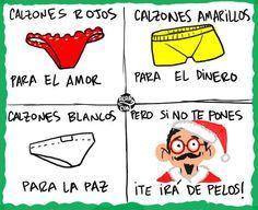 #Humor #Chones rojos para el #Amor, chones amarillos para el #Dinero, chones blancos para la #Paz, pero si no te pones... ¡Te irá de #Pelos! @candidman #Navidad