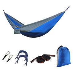 HONGGE Camping Hammock Portable Lightweight Parachute Nylon Fabric Hammock for Camping Hiking Travel Yard Forest Beach BlueGray *** Check out this great product.Note:It is affiliate link to Amazon.