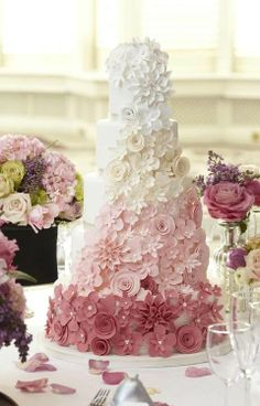 Pink ombre floral wedding cake. So beautiful!!!