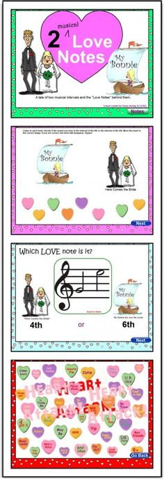 "February SMARTBoard Music Lesson: ""2 Musical Love Notes and a Heart Attack"" Students learn to recognize the intervals of the P4th and M6th using ""My Bonnie"" and ""Here Comes the Bride,"" This lesson is fun, very interactive, and suitable for Grades 1 - 5. The ""Heart Attack"" at the end is the best!! This lesson has been kid-tested and received ""The Best Music Class Ever"" comment."