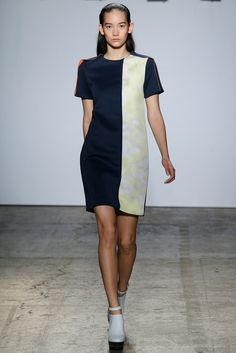 ADEAM | Spring 2015 Ready-to-Wear | 02 Navy/white color block short sleeve mini dress
