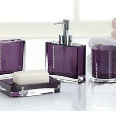 Bathroom Set Purple Acrylic Bathroom Set With Jewels