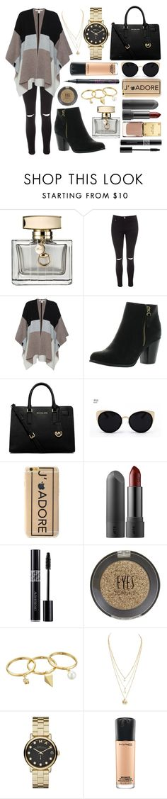 """""""Autumnal shopping look"""" by steffiecx ❤ liked on Polyvore featuring Gucci, Glamorous, Belford, Reneeze, MICHAEL Michael Kors, Una-Home, Topshop, Rebecca Minkoff, Marc by Marc Jacobs and MAC Cosmetics"""